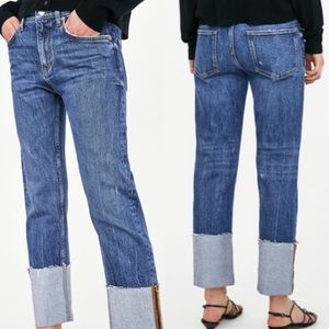 NEW Zara The Folded Up Straight Jeans